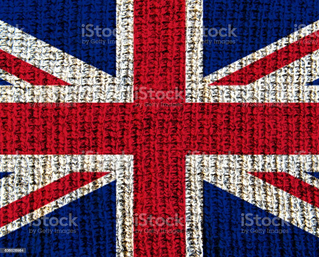 Wool Textured Flag - Great Brittain stock photo