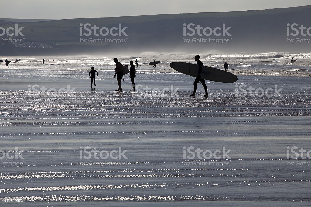 Woolacombe Bay Surf Silhouette stock photo