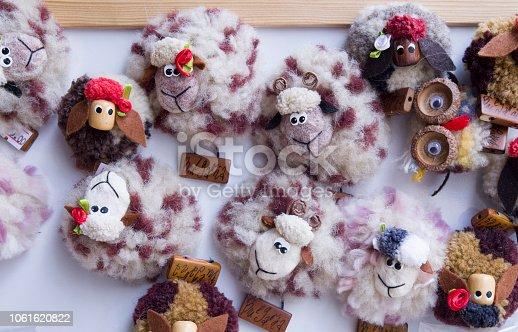 istock Woolen cheerful sheep. Souvenir from Bulgaria, Europe 1061620822