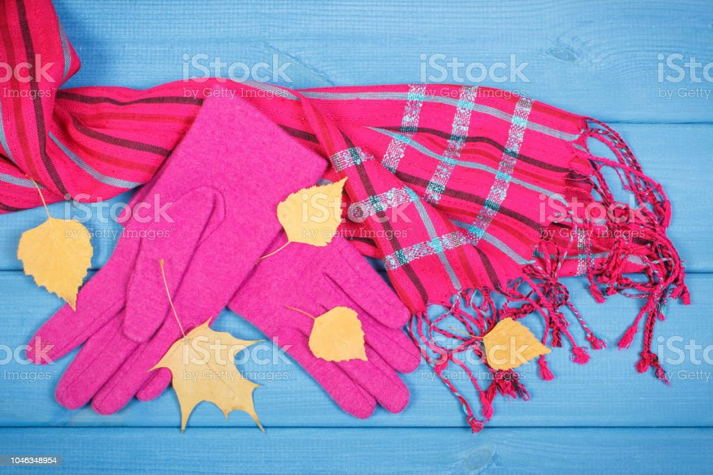 Woolen gloves and shawl for woman on boards, womanly clothing for autumn or winter