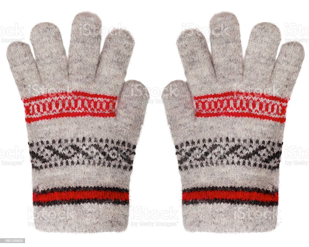 Woolen gloves isolated on white background stock photo