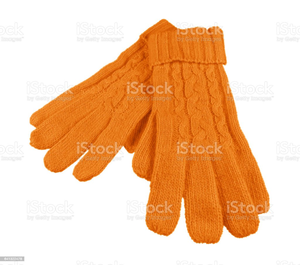 Woolen gloves isolated - orange stock photo