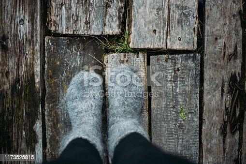 woolen socks on on a beautiful woman