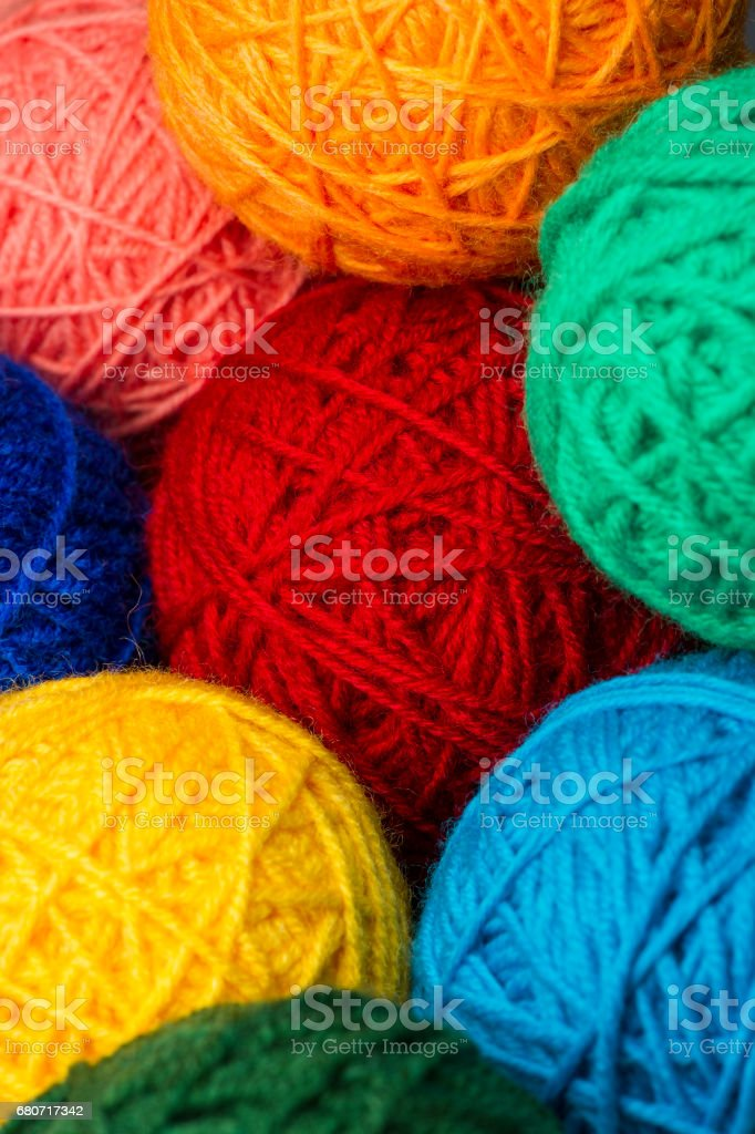 Woolen yarn balls stock photo