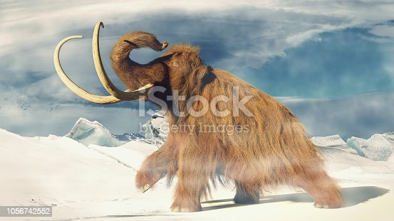 huge ice age animal in frozen wilderness