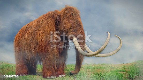 huge ice age animal in grassy wilderness