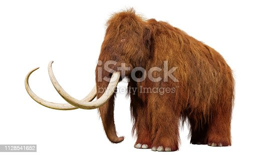 huge ice age animal, cutout on white ground