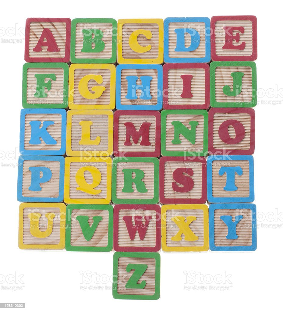 Wooned cubes alphabet royalty-free stock photo