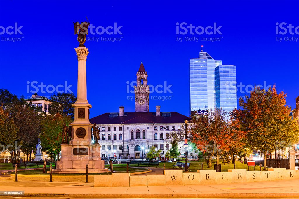 Worcester Commons in Massachusetts stock photo