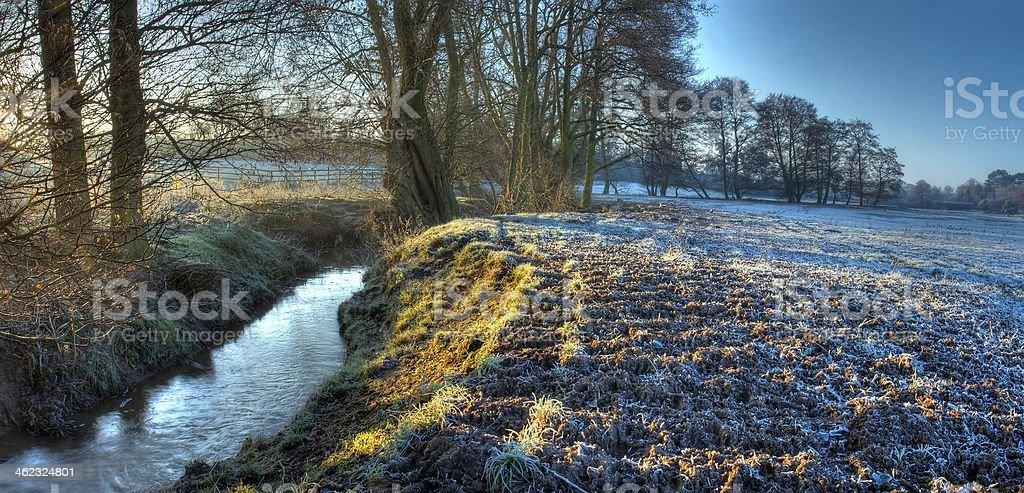 Worcestershire farmland in winter stock photo