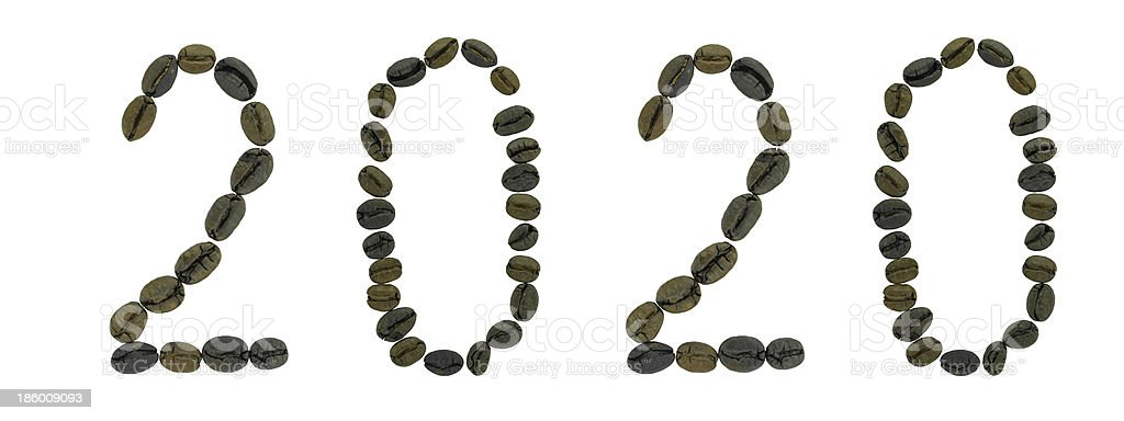 Word 2020  made of coffee beans royalty-free stock photo