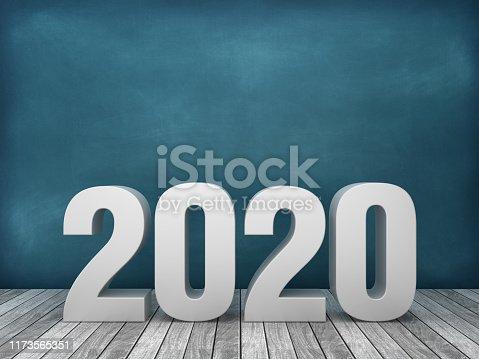 3D Word 2020 on Chalkboard Background - 3D Rendering