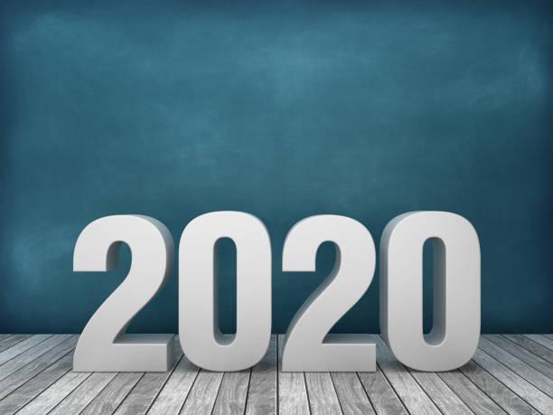 3d word 2020 sur fond de tableau - rendu 3d - calendrier digital journée photos et images de collection