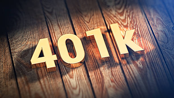 """Word 401k on wood planks The sign """"401k"""" is lined with gold letters on wooden planks. 3D illustration image 401k stock pictures, royalty-free photos & images"""
