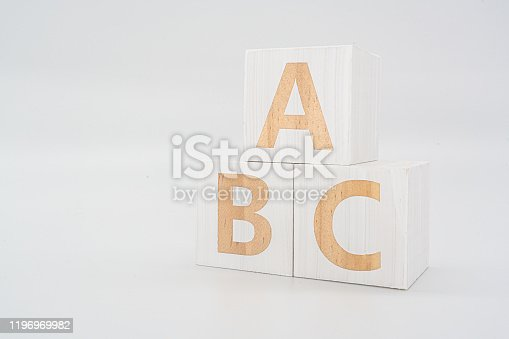 Word 'ABC' wood Cubic on the wood