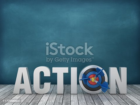 3D Word ACTION with Target on Chalkboard Background - 3D Rendering