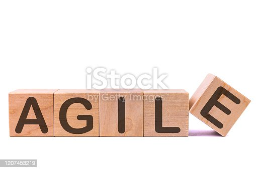 844020228 istock photo Word AGILE written on wooden cubes on a white background 1207453219