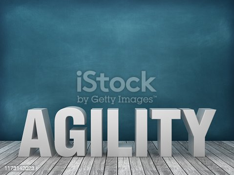 istock 3D Word AGILITY on Chalkboard Background - 3D Rendering 1173142023