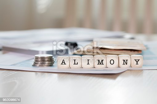 Word ALIMONY composed of wooden letters. Closeup