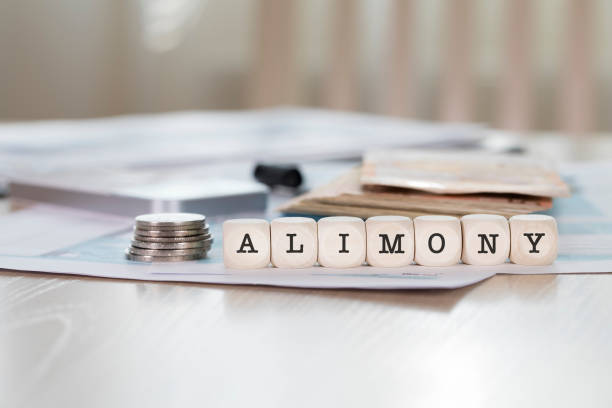 Word ALIMONY composed of wooden letters. stock photo