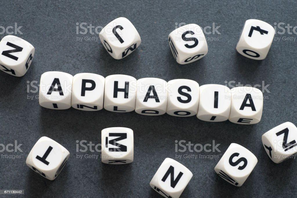 word aphasia on toy cubes stock photo