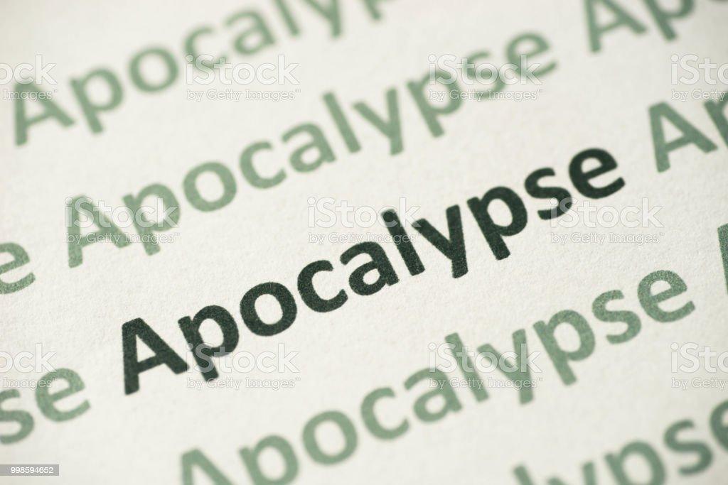 word Apocalypse printed on paper macro stock photo