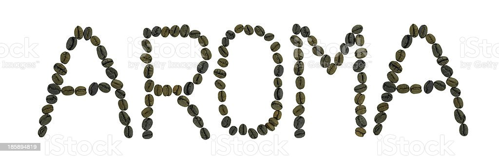 Word AROMA   made of coffee beans royalty-free stock photo