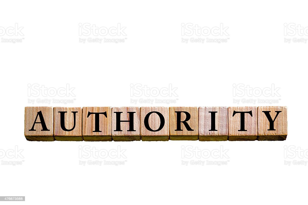 Word AUTHORITY isolated on white background stock photo