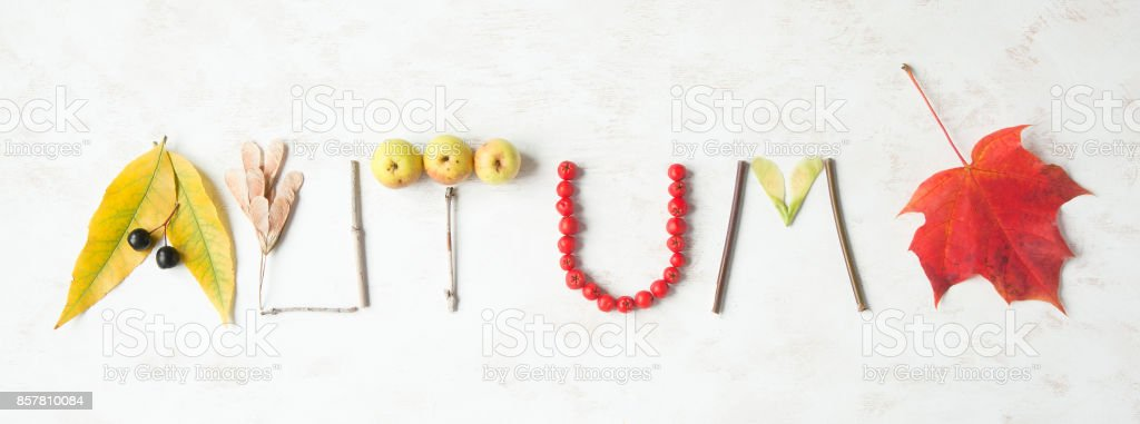 Word autumn written with leaves, apples, berries, tree sticks, nuts and maple leaf. stock photo