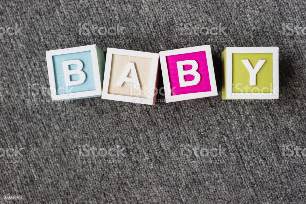 word baby made of letter cubes stock photo