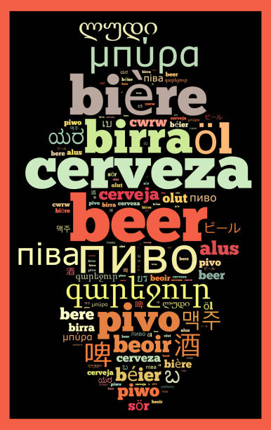 Word Beer in different languages stock photo