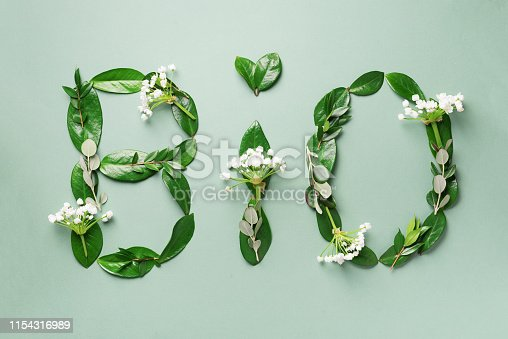 Word Bio made of leaves, branches, flowers on green background. Top view. Flat lay. Ecology, eco friendly planet and sustainable environment concept. Think green