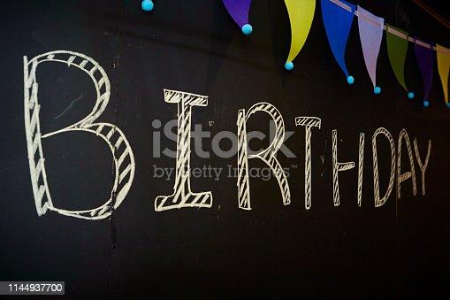istock Word birthday on blackboard 1144937700