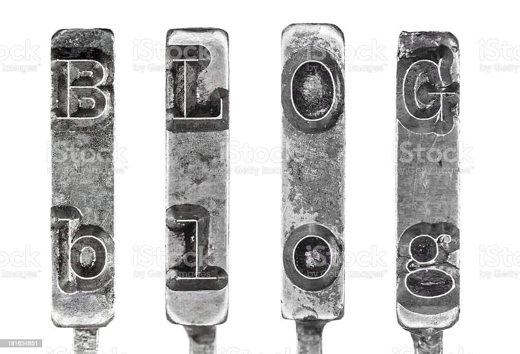 Word BLOG in Vintage Typewriter Typebars Isolated on White Background stock photo