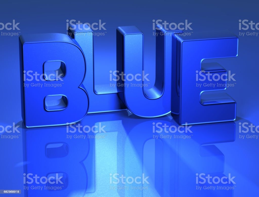 3D Word Blue with mirror on background royalty-free stock photo