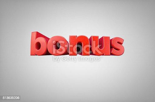 istock Word Bonus - High quality 3D Render 513635206