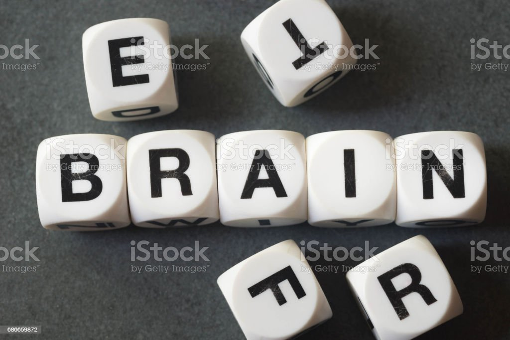 word brain on toy cubes royalty-free stock photo