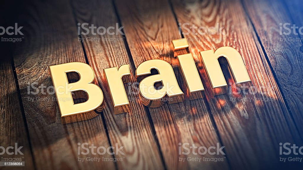 Word Brain on wood planks stock photo