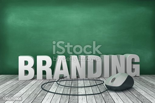 1140385944 istock photo 3D Word BRANDING with Computer Mouse on Chalkboard Background - 3D Rendering 1204712905