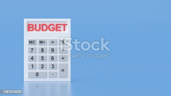 Word Budget on White Plaster Calculator