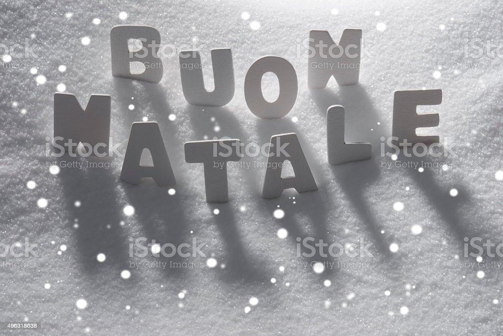 Word Buon Natale Mean Merry Christmas On Snow Snowflakes Stock Photo ...