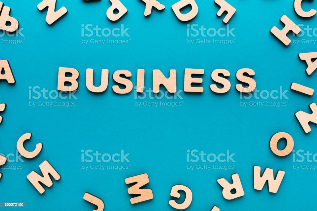 Word Business on blue background stock photo