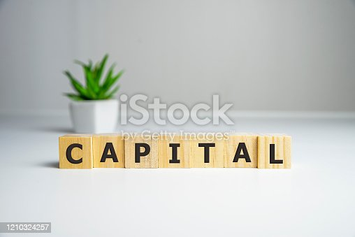 istock word Capital. Increase investment and foreign capital in the national economy. Improve business climate and increase attractiveness. Growth and stability of the economy. 1210324257