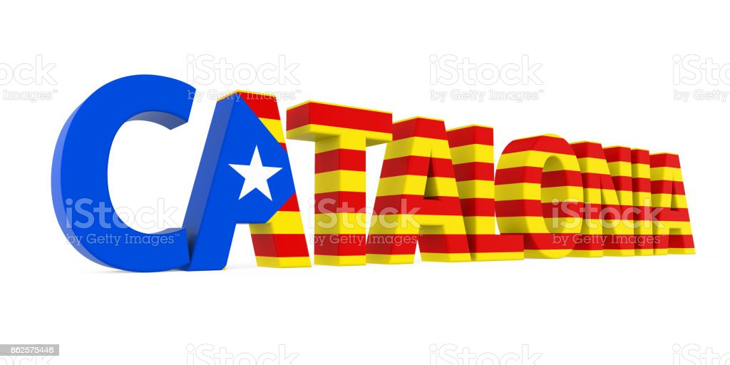 Word Catalonia with National Flag Isolated stock photo
