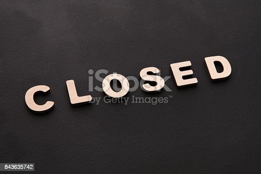 istock Word Closed on black background 843635742