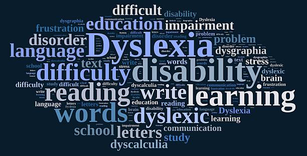 Word cloud about dyslexia stock photo
