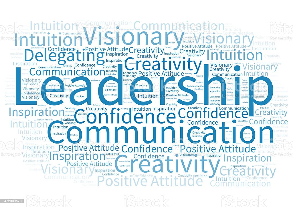 Word cloud about leadership stock photo