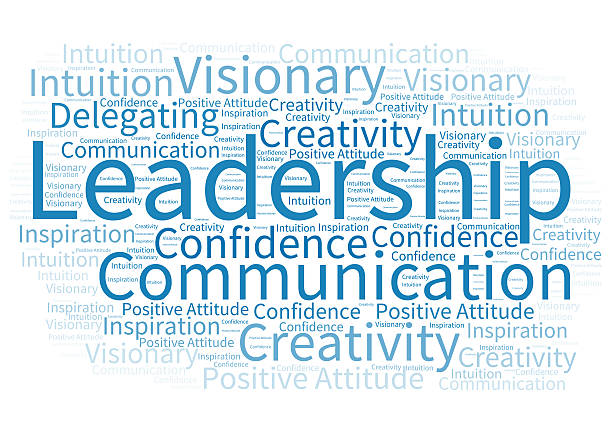 Word cloud about leadership Word cloud with qualities of a great leader and manager single word stock pictures, royalty-free photos & images