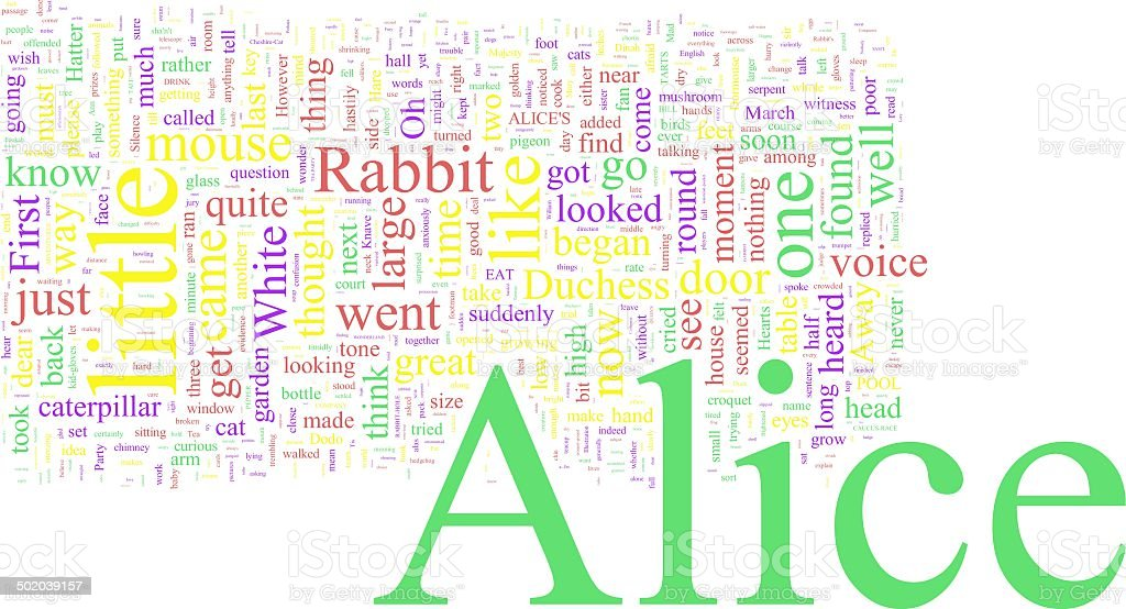 Word Cloud - Alice in Wonderland stock photo