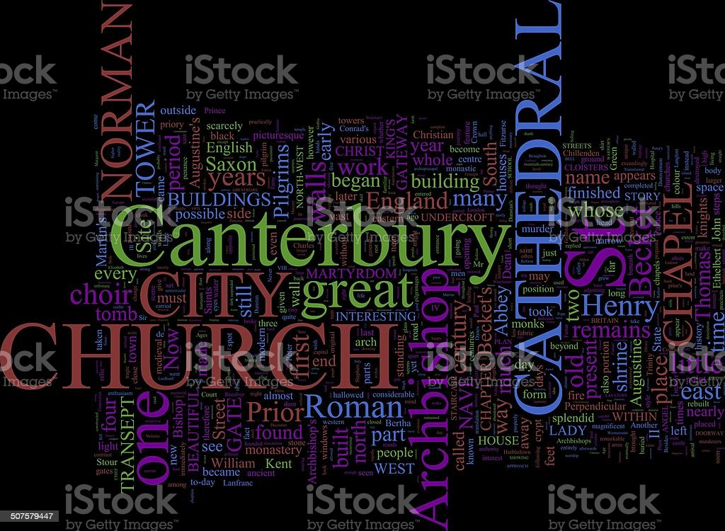 Word Cloud based Around Canterbury, UK stock photo